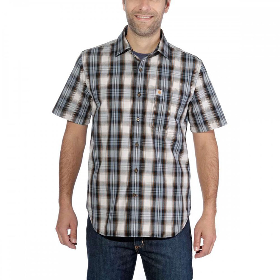 Carhartt Men Short-Sleeve Shirt Short Sleeve Essential Open Collar Plaid